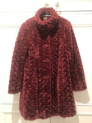 Caroline Charles Burgundy Luxury Faux Fur Coat Swing Style Knee Length UK10 • 95£