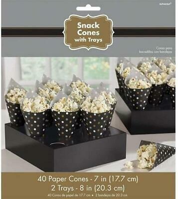 40 Black Snack Cones With 2 Trays Ideal Party / Popcorn / Chips /sweets Etc • 5.99£