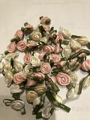 50 Quality Mini Satin Ribbon Roses With Leaf 25mm Crafts Sewing Card Making • 2.50£