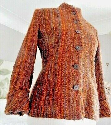 Caroline Charles Fringing Autumnal Boucle Fringe Jacket Wool Mix  12 Uk 10  Bust • 19.99£