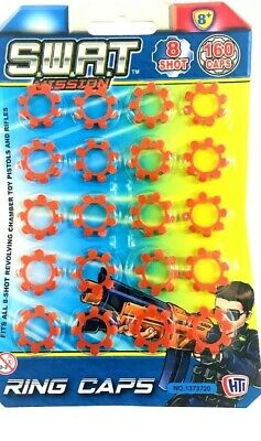 New 8 Shot Ring Caps - 20 Rings - 160 Shot Cap Gun Pistol Rings Toy Best Price • 2.99£