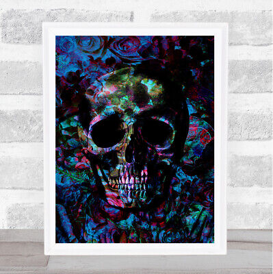 £29.95 • Buy Gothic Colourful Skull On Abstract Background Home Wall Art Print