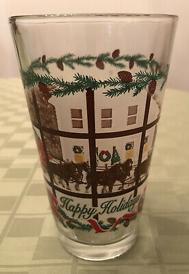 $ CDN15.31 • Buy Budweiser HAPPY HOLIDAYS Frosted Clydesdale & Wagon Pint Beer Glass Vintage!