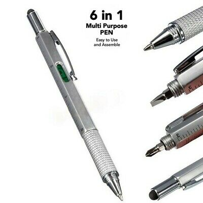 6 In 1 Handy Pen Multi Tool Gadget Stylus Ruler Screwdriver Spirit Level Pen UK • 5.48£