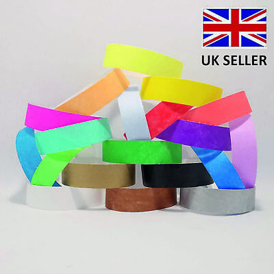 £2.49 • Buy 19mm Plain Coloured TYVEK Paper ID Wristband Events Parties Festivals Admission