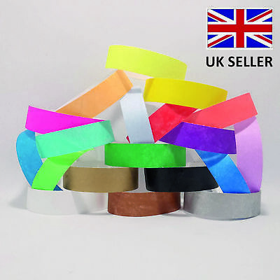 £2.49 • Buy 19mm Plain Coloured TYVEK Paper ID Wristbands Events Parties Festivals Admission