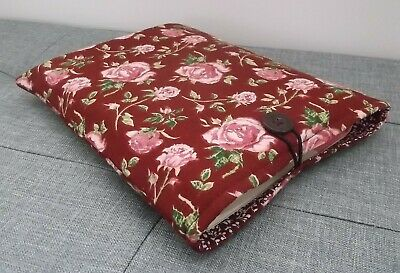 Handmade Book Sleeve Cover Kindle Tablet Pouch Roses Fabric • 7.50£