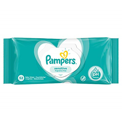 Pampers Sensitive Fragrance-Free Baby Wipes, 52 X • 5.98£