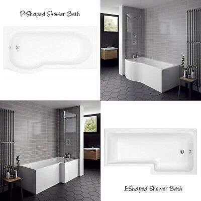 L-Shaped P Shaped Shower Baths 1700mm Front Panel & Screen White Modern Bathroom • 164.95£