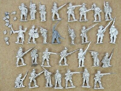 28mm ACW Metal INFANTRY X30 With Command + Flags American Civil War 75212 • 20£