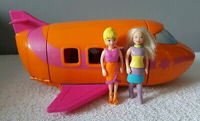 POLLY POCKET AEROPLANE ORIGINAL 2002 ~*2 Doll Figures,Clothes + Accessories*~ • 10£