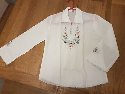 Vintage Greek Peasant Blouse Tunic Shirt Top Floral Embroidery 12 / 14 UK NEW  • 16.99£