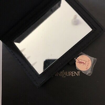 Leather Patent Black Compact Mirror YSL Yves Saint Laurent Beauty Purse Makeup • 20£