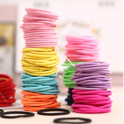 $ CDN5.51 • Buy 100Pcs Girls Hair Elastic Bobbles Bands Ties School Ponios Thin Hair Accessories