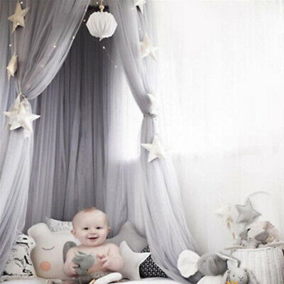 Hanging Baby Bed Canopy Mosquito Net Dome Dream Curtain Tent Kids Room Grey • 17.65£