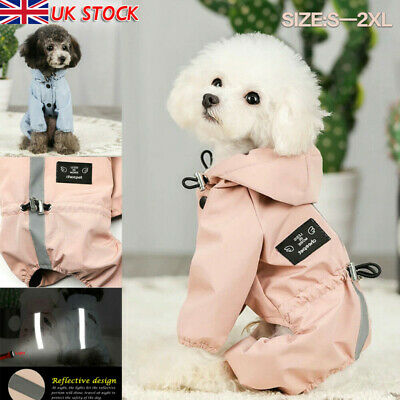 Dog Clothes Rain Coat Waterproof 4 Legs Pet Raincoat Hoodie For Small Middle Dog • 9.59£
