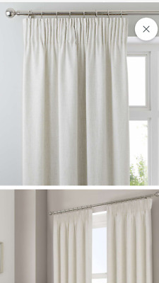 White Pencil Pleat Blackout Thermal Linings Curtains • 15£