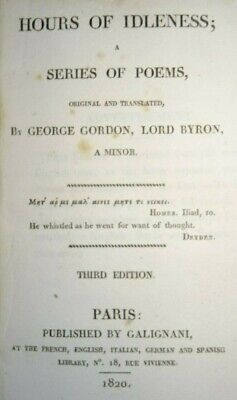 1820 HOURS OF IDLENESS A SERIES OF POEMS By GEORGE GORDON LORD BYRON MAZEPPA ^ • 24.99£