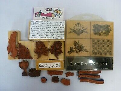 Bundle Craft Rubber Stamps Wooden/Foam Assorted Sizes Inc Laura Ashley Set • 4.99£