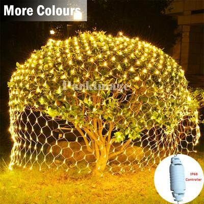 Outdoor LED String Fairy Net Lights Curtain Mesh Christmas Garden Tree Lamps UK • 15.78£