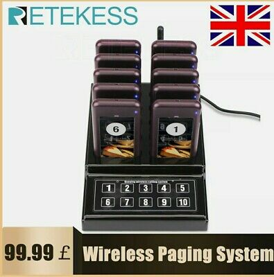 Restaurant Fast Food Truck Pizza Shop 10*Coaster Pagers Wireless Queuing System • 84.99£
