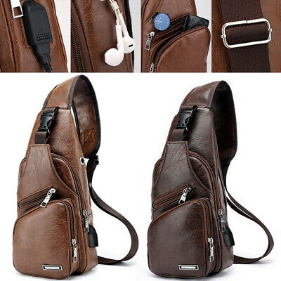 AU20.17 • Buy Mens Chest Bag Leather Shoulder Backpack Sling Crossbody Satchel Travel Bags New