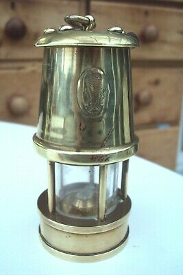 Antique Solid Brass Welsh Three Feathers Small Miners Lamp. • 14.95£