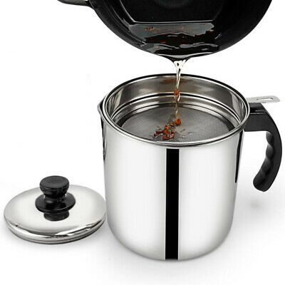 AU18.99 • Buy 1.2L Home Kitchen Grease Oil Pot Leakproof Stainless Steel Oil Filter Container