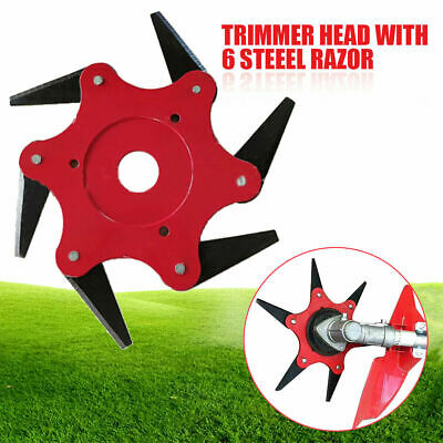AU12.99 • Buy Outdoor 6 Steel Trimmer Head Blades Razors 65Mn Lawn Mower Grass Weed Cutter Red