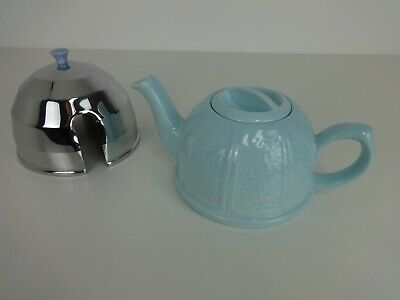 £29.99 • Buy Vintage Teapot Light Blue Ceramic Silver Fitted Thermal Tea Cosy Design 884645