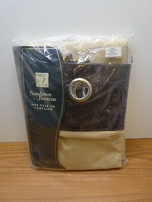 SANDOWN & BOURNE BROWN RING TOP EYELET CURTAINS  46 X 90  Leather/s/twill Taupe • 30£