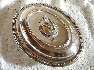 Beautiful Oval Silver Plate Entree Serving Dish With Bead Edge. V. Good Cond... • 10£
