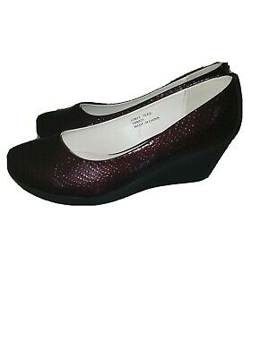 NEW Heavenly Soles Burgundy Patent Wedge Comfort Shoes 7 EEE Wide Fitting  • 7.99£