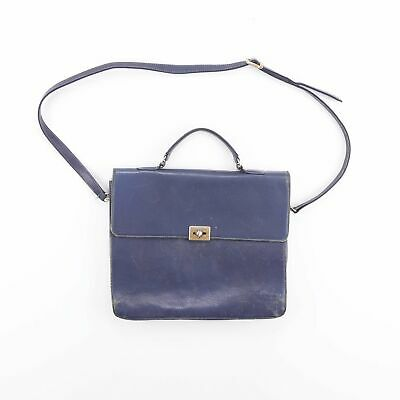 Vintage Blue Leather Shoulder Side Laptop Briefcase Satchel Bag • 17.95£