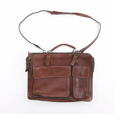 Vintage Brown Leather Shoulder Side Laptop Briefcase Satchel Bag • 19.95£