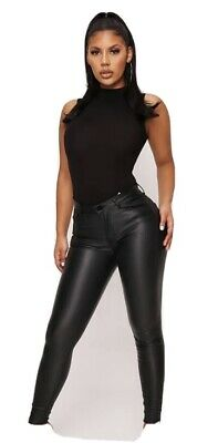 Estee Brown Black High Waisted Coated Skinny Leather Jeans Size 10/M • 11£