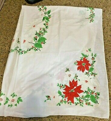 $ CDN20.85 • Buy Vintage Christmas Tablecloth  Poinsettias 68  X 48