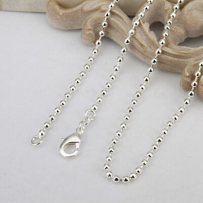 £2.39 • Buy All Inch Chain Necklace Sizes Pendant 2mm Ball Bead Uk *huge *sale* 925  Silver