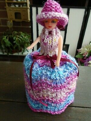Hand Knitted Blue/Pink  Doll Toilet Roll Cover • 4.99£