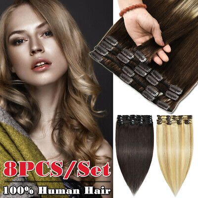 UK 8PCS Full Head 8A Russian Hair Clip In 100% Remy Human Hair Extensions Soft • 12.02£