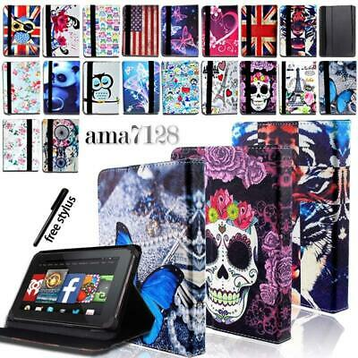 FOLIO LEATHER STAND CASE COVER- For Amazon Kindle Fire 7  HD 8  HD 10  +Pen • 4.99£