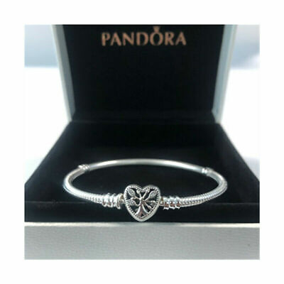 Genuine Silver Pandora Moments Family Tree Heart Clasp Snake Chain Bracelet UK • 13.99£