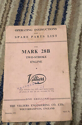 VILLIERS  MK 28B 2 Stroke Engine Operating Instructions & Spare Parts List  1955 • 7.50£