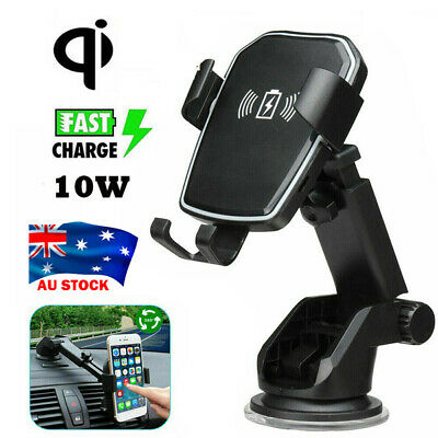 AU20.95 • Buy AU Qi Wireless 10W Fast Charging Car Charger Mount Holder 2in 1 For Mobile Phone
