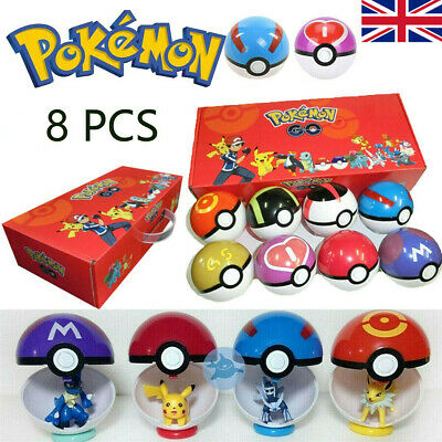 For Pokemon 8Pcs Ball Set Pokeball GO Action Figures Xmas Kid Toys Child Gift UK • 18.79£