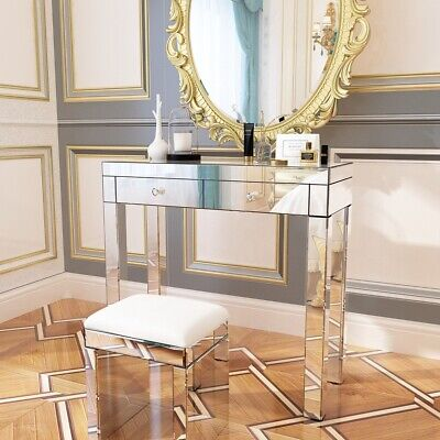 £65 • Buy New Quality Mirrored Dressing Table Set Crystal 2 Drawers Vanity Table / Stool