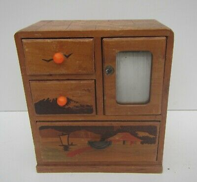 Vintage Miniature Decorative Wooden Desktop Chest Of Drawers - Jewellery  • 5.99£