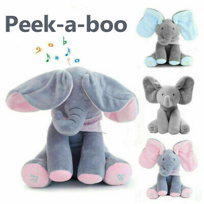 Peek A Boo Singing Elephant Toy Stuffed Music Doll Animated Kids Gift Baby Cute • 9.99£