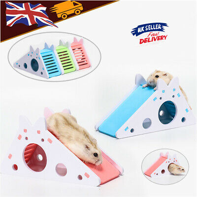 Hamster Hideout Wooden House With Ladder Slide Pet Exercise Toy Exercise Toy UK • 7.28£