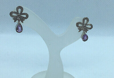 Silver Amethyst And Marcasite Bow Earrings • 5£